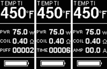 Інструкція для бокс-мода Joyetech eVic VTC Mini 75W.Переключеніе між AMP (поточний струм в Амперах), PUFF (кількість затяжок) і TIME (загальний час польоту)
