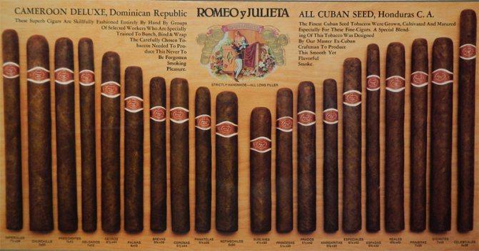 Кубинські сигари Romeo y Julieta (Ромео і Джульєтта)