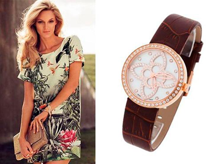 Женские часы Луи Витон с кожаным ремешком