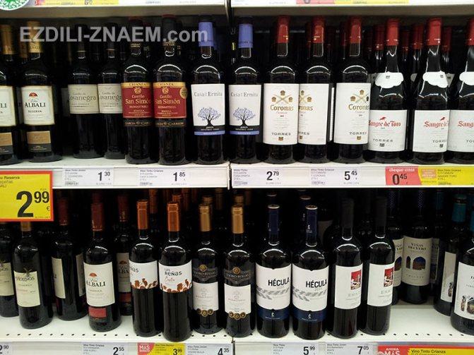 На фото ціни на вино в Испании
