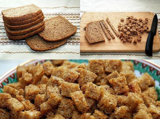 Наріжте хліб шматочками або смужками