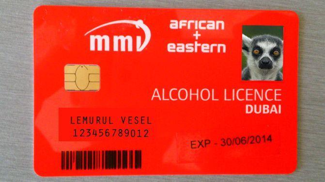 Приклад алкогольної ліцензії в Дубаї