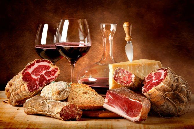 Продукти зі свинини и вино